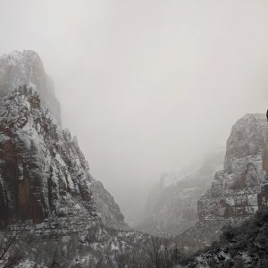 Snowy image of Zion National Park